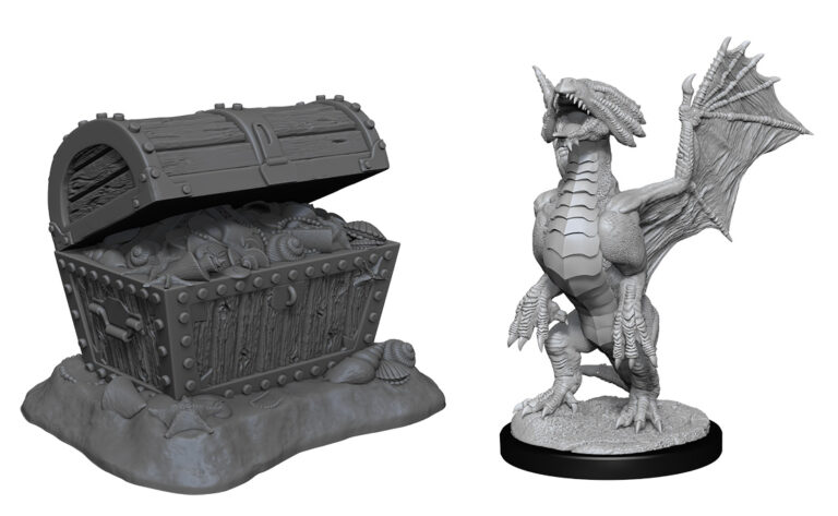 Bronze Dragon Wyrmling & Pile of Seafound Treasure