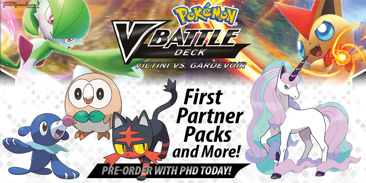 Pokémon TCG: Alola First Partner Pack, Victini vs. Gardevoir V Battle Deck, and More!