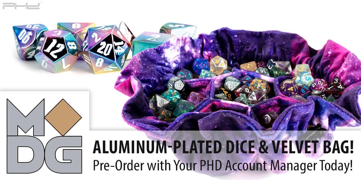 Rainbow Aegis Dice & Velvet Dice Bags — Metallic Dice Games