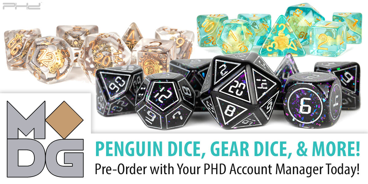 Penguin Dice, Gear Dice, & More — Metallic Dice Games