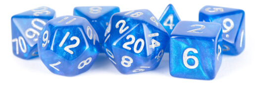 Blue with Silver numbers Stardust dice