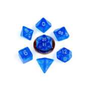 Blue with Silver number mini Stardust dice