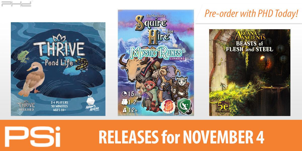 PSI November 4 Releases