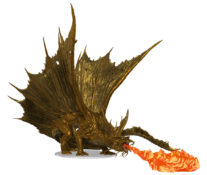 Adult Gold Dragon Figure with breath weapon
